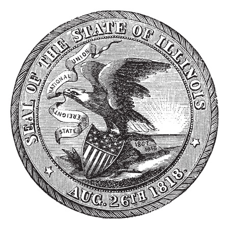 american history: Great Seal of the State of Illinois , USA, vintage engraving. Old engraved illustration of Great Seal of the State of Illinois isolated on a white background.