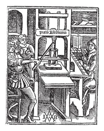 Oude gegraveerde illustratie van de Schroef pers met drie werknemers werken.