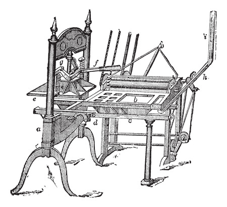 Old engraved illustration of Washington hand press isolated on a white background.