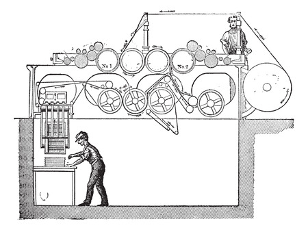 The Victory early web press, vintage engraving. Old engraved illustration of the Victory early web press with two workers operating it.