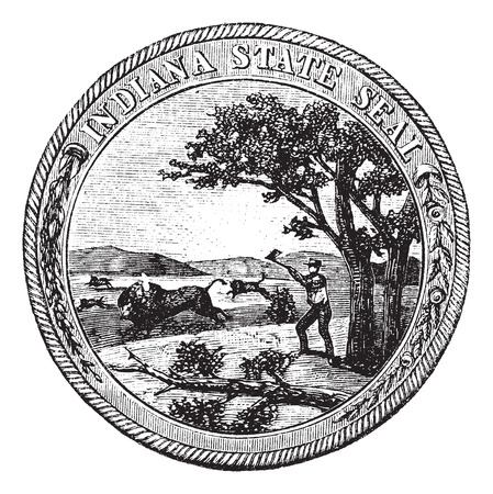 allegheny: Old engraved illustration of Seal of the State of Indiana isolated on a white background. Illustration