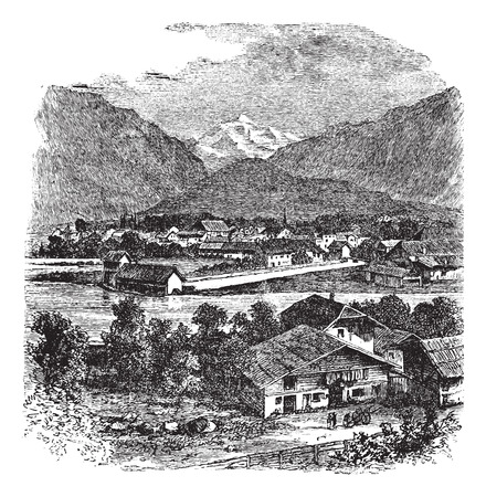 interlaken: Old engraved illustration of Interlaken and Jungfrau.