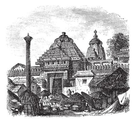 古いメインの入り口のジャガンナート寺院のイラストを刻まれています。  イラスト・ベクター素材