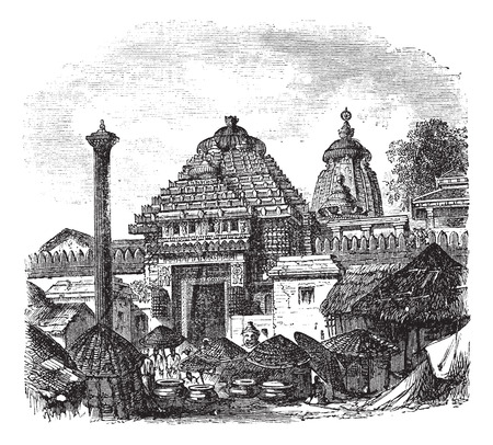 Old engraved illustration of Jagannath temple with its main entrance. Illustration