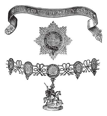 knighthood: Old engraved illustration of Insignia of the Order of the Garter isolated on a white background. Illustration