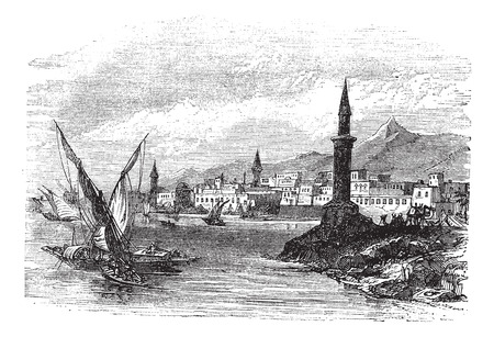 saudi: Old engraved illustration of Jeddah with moving boats in front. Illustration