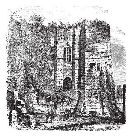 dilapidated: Old engraved illustration of Cesars tower at Kenilworth Castle, Warwickshire, United Kingdom, 1800s.