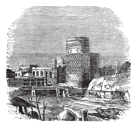 popular belief: Old engraved illustration of famous mosque at palace of khiva, Uzbekistan, 1890s.