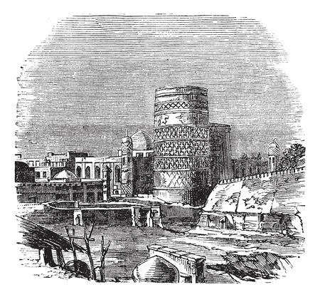 oezbekistan: Oude gegraveerde afbeelding van de beroemde moskee in paleis van Khiva, Oezbekistan, 1890.