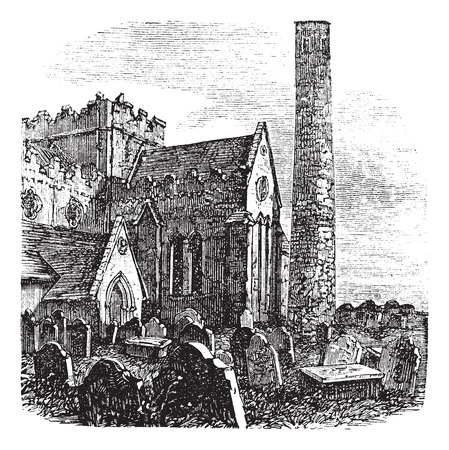 popular belief: Old engraved illustration of exterior of Cathedral of St. Canice, Kilkenny, Ireland during 1800s.