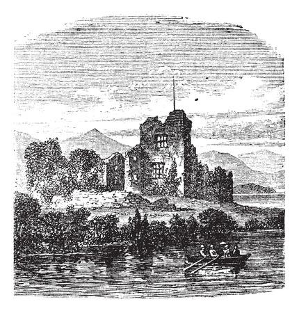 dilapidated: Old engraved illustration of medieval Ross castle Killarney, Ireland, 1800s.