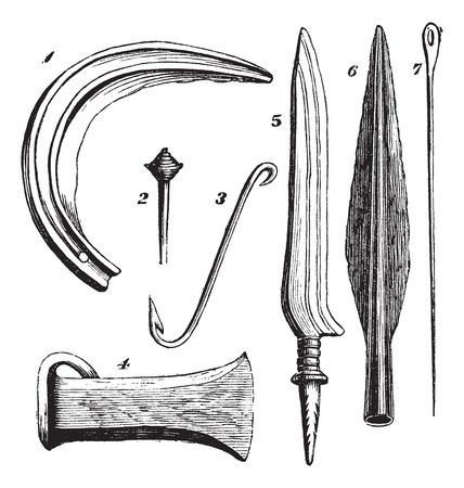 2. ピン 3. フック 4. Socketed celt 5. ナイフ 6. 槍 7.Pin、1.Sicle 青銅楽器の古い刻まれたイラスト。