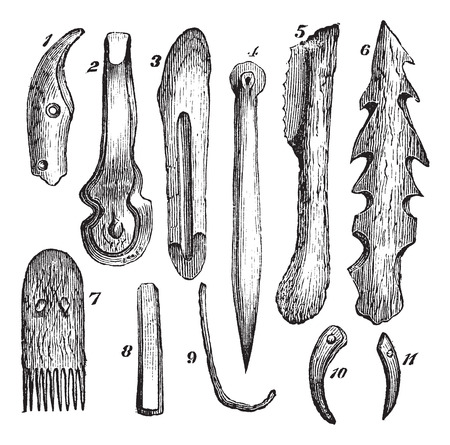 staghorn: Old engraved illustration of 1.knife-tooth boar 2.bone chisel 3.bone knife 4.Alene bone 5.flint saw, with handle fir 6.harpoon staghorn 7.comb in yew wood 8.pine corner 9.hooks in defense of boar 10,11.Needles type in boar tusk.