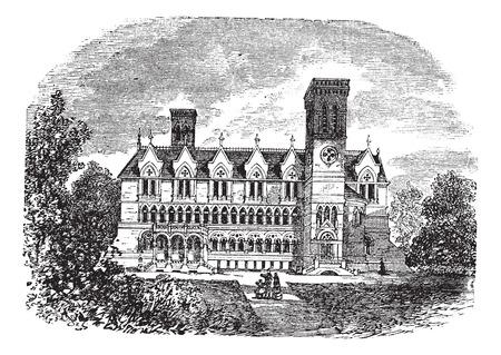 lafayette: Old engraved illustration of purdue university building, West lafayette, 1800s. Illustration