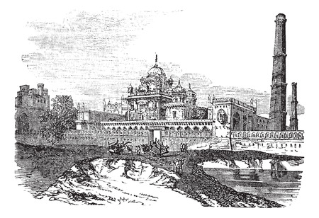 Old engraved illustration of Ranjeet singhs tomb at Lahore, Pakistan, 1800s.