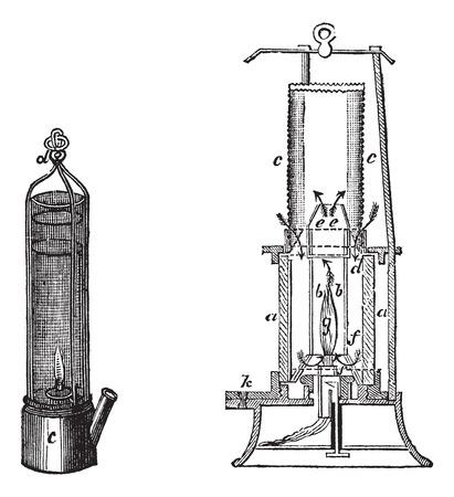 Old engraved illustration of old-fashioned davy safety lamp and mackworth safety lamp Ilustração