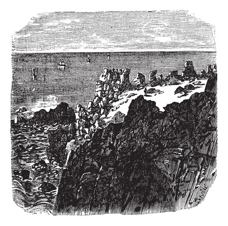 Old engraved illustration of rocky cliff by sea.