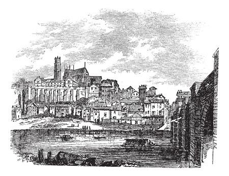 Old buildings at Limoges, France. vintage engraved illustration