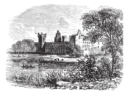 Ruins of Linlithgow Palace, West Lothian, Scotland, vintage engraved illustration Vectores