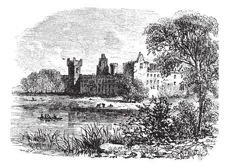 dilapidated: Ruins of Linlithgow Palace, West Lothian, Scotland, vintage engraved illustration Illustration