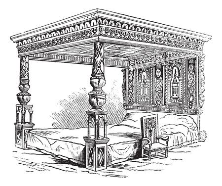 four poster bed: Great Bed of Ware, vintage engraved illustration