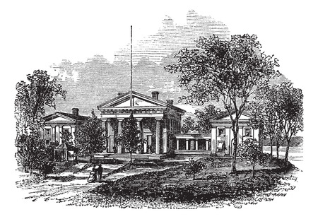 little town: Old engraved illustration of Little Rock the capital of Arkansas USA.