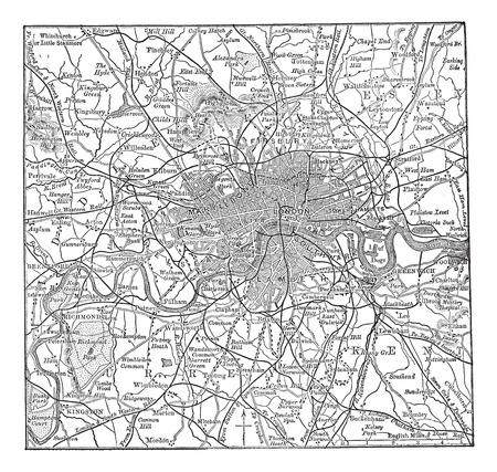 Alt graviert Illustration der London Karte mit ihrer Umgebung. Standard-Bild - 37980245
