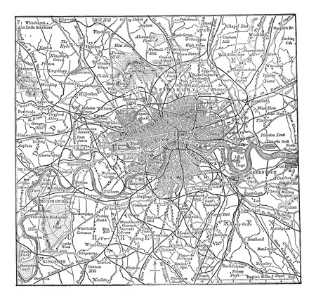 geographical locations: Old engraved illustration of London  map with its environs.