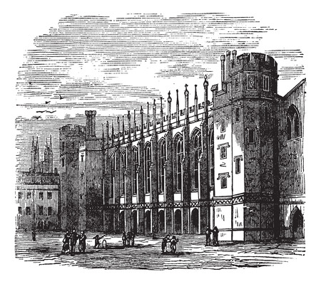 Old engraved illustration of Christs Hospital with people in front. Vector
