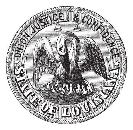 sigil: Old engraved illustration of Great Seal of the State of Louisiana isolated on a white background.