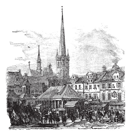 market place: Old engraved illustration of Market Place of Lubeck with people and shops. Illustration