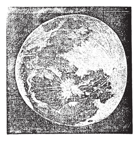 moon: Old engraved illustration of Full Moon Photograph.
