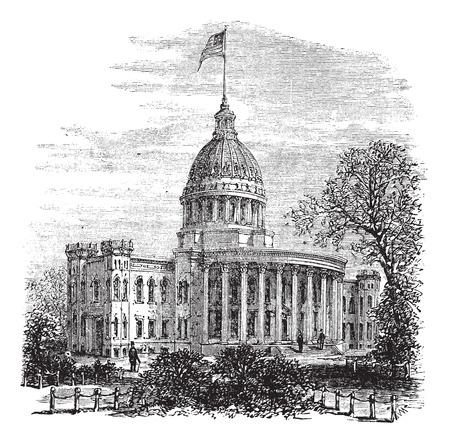 governmental: Ilustraci�n del Antiguo grabado de Wisconsin State Capitol. Vectores