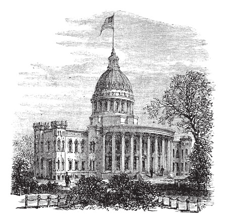 city building: Old engraved illustration of Wisconsin State Capitol.