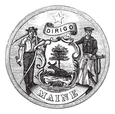 great seal: Old engraved illustration of Great Seal of the State of Maine isolated on a white background. Illustration