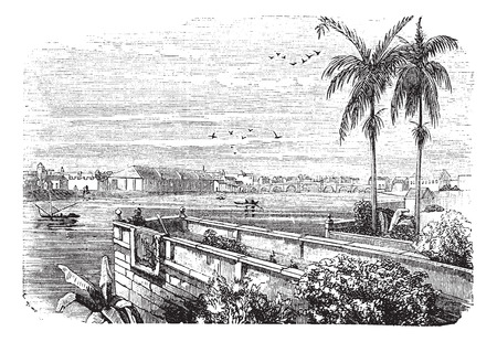 Old engraved illustration of Manila with Pasig River. 向量圖像