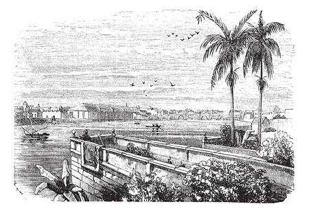 manila: Old illustrazione incisa di Manila Pasig River.