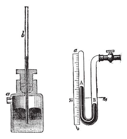 Old engraved illustration of Manometer isolated on a white background.