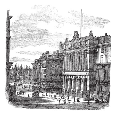 bourse: Old engraved illustration of the Bourse Marseille with people on the street. Illustration