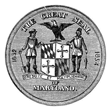 great seal: Great Seal of the State of Maryland, United States, vintage engraving. Old engraved illustration of Great Seal of the State of Maryland isolated on a white background.