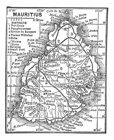 mauritius: Old engraved illustration of the Map of Mauritius. Illustration