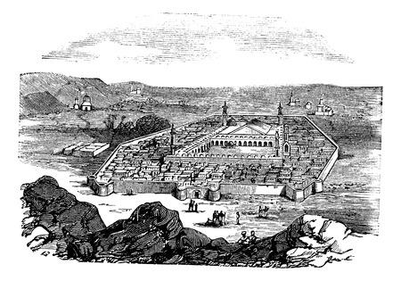 巡礼: マディーナ, サウジアラビア王国、ヴィンテージの刻まれた図。聖都とイスラムの預言者ムハンマドの埋葬の場所