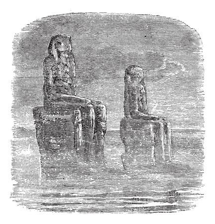 Statue of Memnon, Egypt, vintage engraved illustration