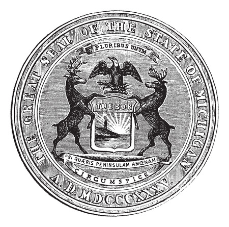 Seal of the state of Michigan, vintage engraved illustration