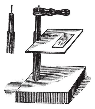 simple: Microscope simple, vintage engraved illustration