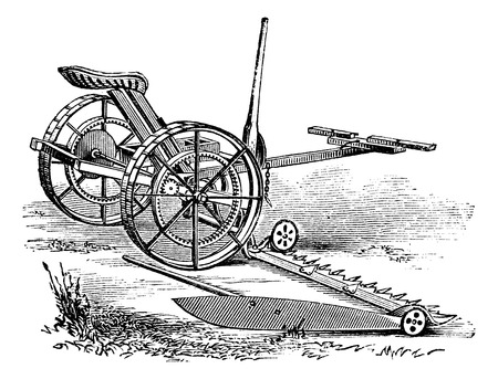 farm equipment: Reaper, vintage engraved illustration