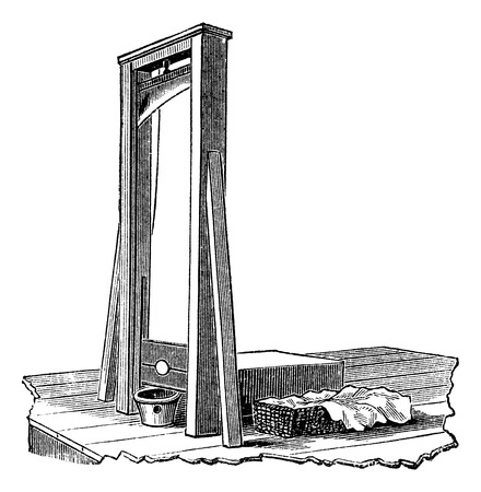 guillotine: Guillotine isolated on white, vintage engraved illustration