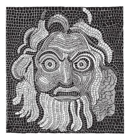 Mosaic (baths of Agrippa) vintage engraved illustration
