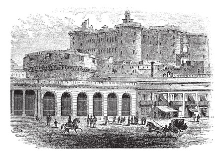 Castel Nuovo in Naples, Campania, Italy, vintage engraved illustration
