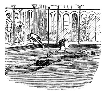 Learning to Swim with the Aid of a Rope, vintage engraved illustration Vector